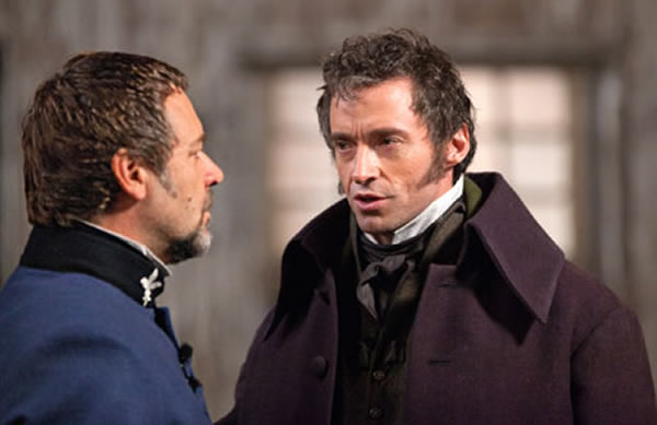 Russell Crowe y Hugh Jackman en Los Miserables 2012