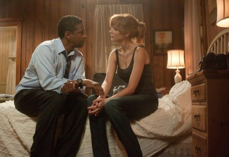 Denzel Washington y Kelly Reilly en el Vuelo