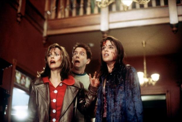 Courteney Cox, Jamie Kennedy y Neve Campbell en Scream