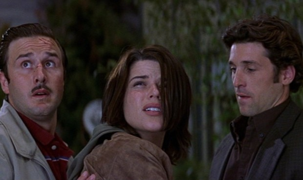 David Arquette, Neve Campbell y Patrick Dempsey en Scream 3