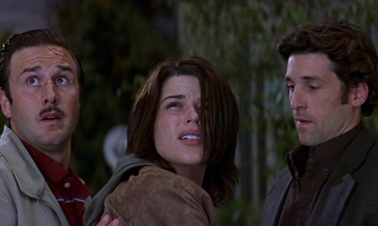 David Arquette, Neve Campbell y Patrick Dempsey en Scream 3
