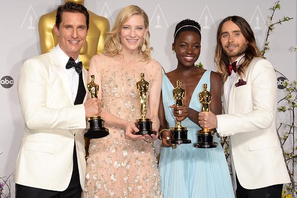 Matthew McConaughey, Cate Blanchett, Lupita Nyong'o y Jared Leto con sus Oscar 2014
