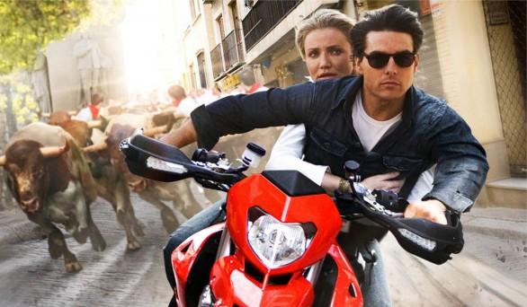 Tom Cruise y Cameron Diaz en la moto en Noche y Día