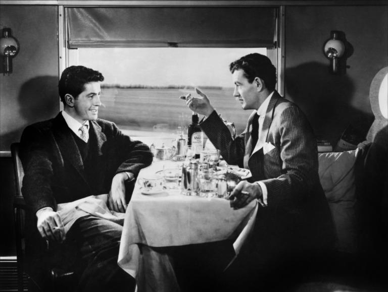 Farley Granger y Robert Walker en Extraños en un Tren