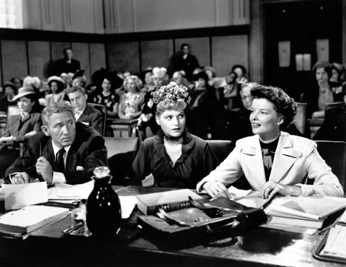 Spencer Tracy, Judy Holliday y Katharine Hepburn en La Costilla de Adán