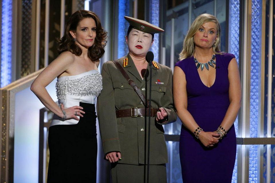 Tina Fey, Margaret Cho y Amy Poehler en los Globos de Oro 2015
