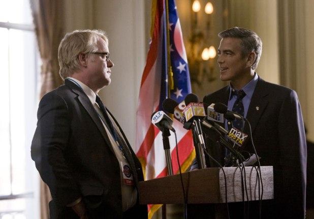 Philip Seymour Hoffman y George Clooney en Los Idus de Marzo
