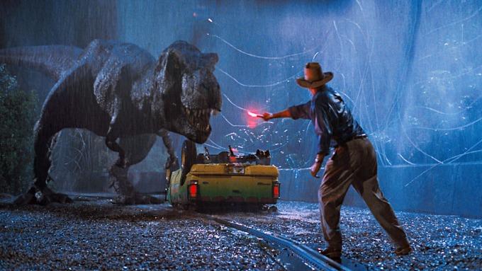 Sam Neill y el T-Rex en Parque Jurásico