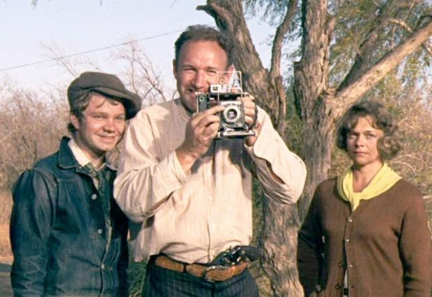 Michael J. Pollard, Gene Hackman y Estelle Parsons en Bonnie y Clyde