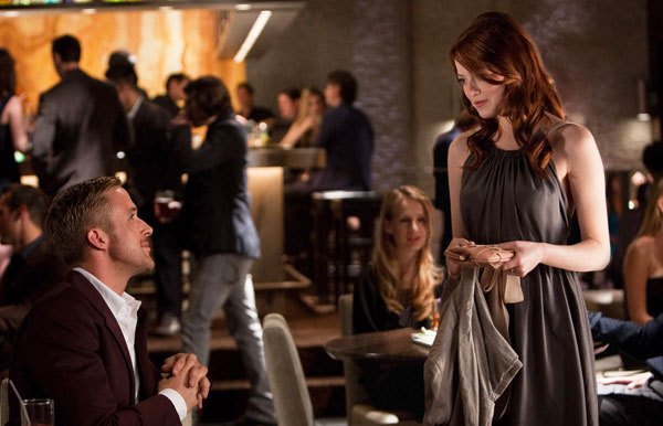 Ryan Gosling y Emma Stone en Crazy, Stupid, Love