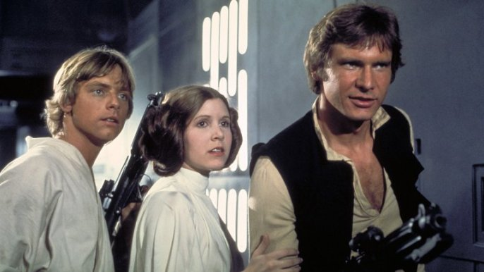 Mark hamill, Carrie Fisher y Harrison Ford en La Guerra de las Galaxias