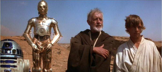 R2D2, C3PO, Obi Wan y Luke en la Guerra de las Galaxias