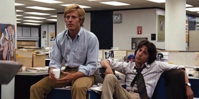 Robert Redford y Dustin Hoffman en Todos los Hombres del Presidente