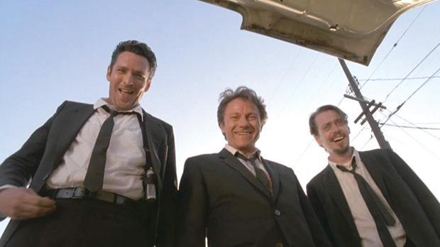 Michael Madsen, Harvey Keitel y Steve Buscemi en Reservoir Dogs