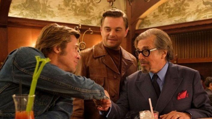 Brad Pitt, Leonardo DiCaprio y Al Pacino en Érase una Vez en... Hollywood