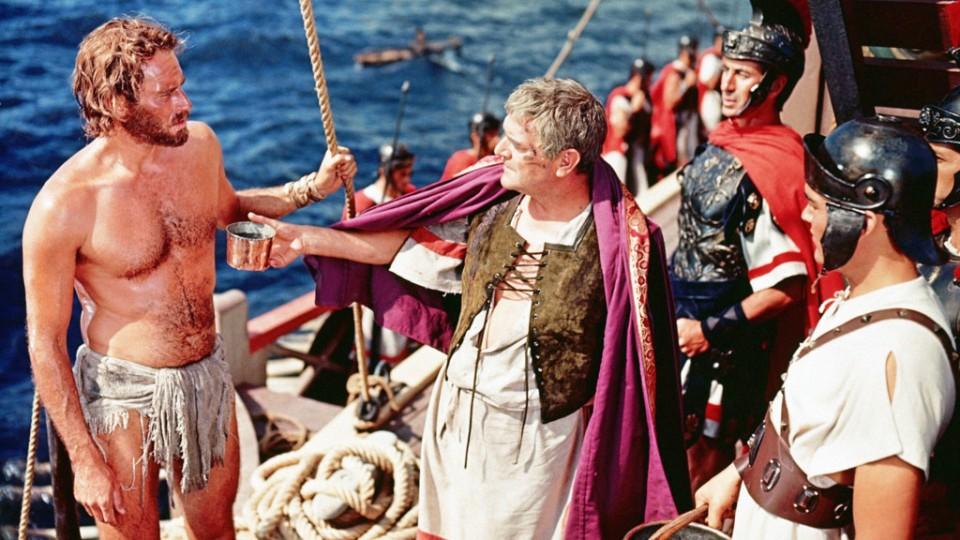 Charlton Heston y Jack Hawkins en Ben-Hur