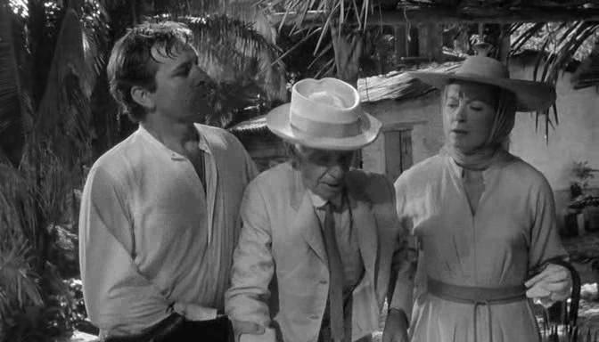 Richard Burton, Cyril Delevanti y Deborah Kerr en La Noche de la Iguana